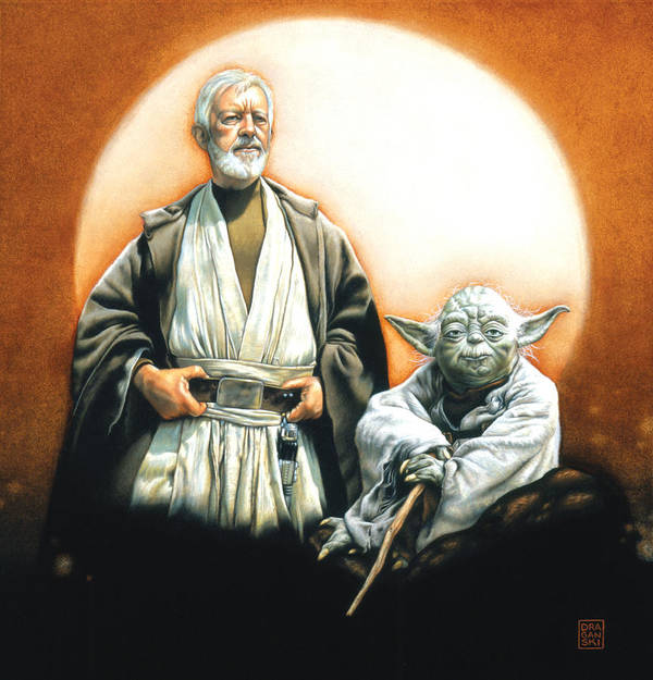Star Wars Print featuring the drawing The Masters by Edward Draganski