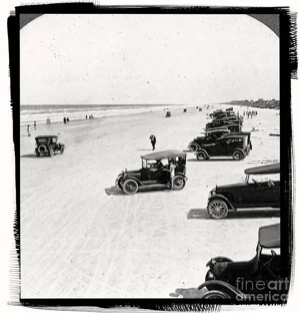 Vintage Print featuring the photograph Vintage Daytona Beach Florida by Edward Fielding