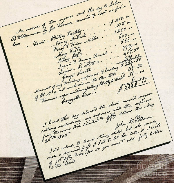 Slavery Print featuring the photograph Invoice Of A Sale Of Black Slaves by Photo Researchers