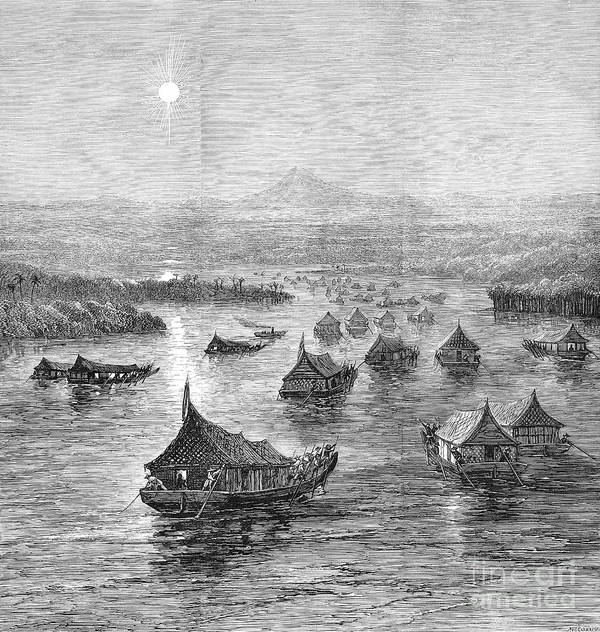 1876 Print featuring the photograph Malaya: Perak River, 1876 by Granger