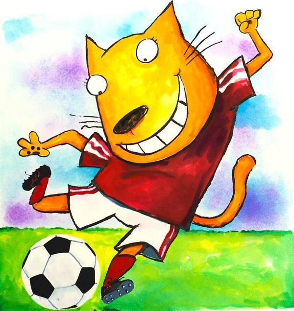 Cat Print featuring the painting Soccer Cat by Scott Nelson
