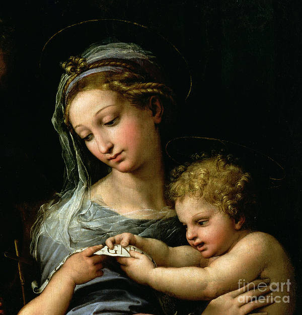 The Print featuring the painting The Virgin Of The Rose by Raphael