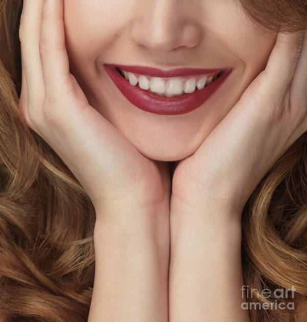 Smile Print featuring the photograph Beautiful Young Smiling Woman by Oleksiy Maksymenko