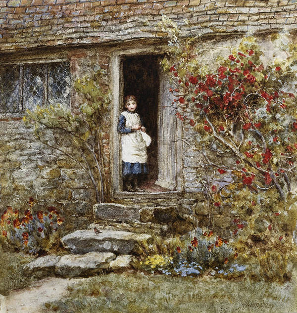 Corcorus Japonica Print featuring the painting Corcorus Japonica by Helen Allingham