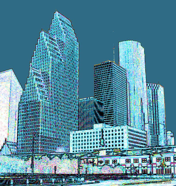 Houston Print featuring the painting Downtown Houston by Fred Jinkins