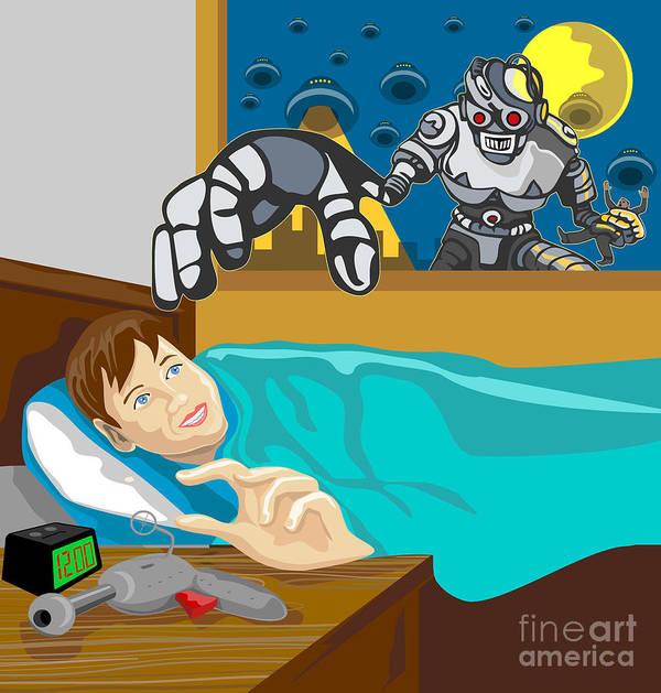 Robot Print featuring the digital art Invading Alien Robot by Aloysius Patrimonio