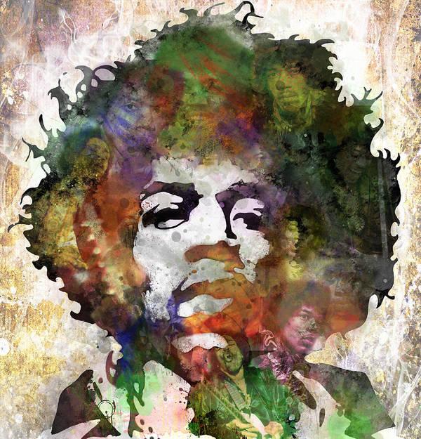 Jimi Hendrix Print featuring the painting Jimi Hendrix by Bobby Zeik