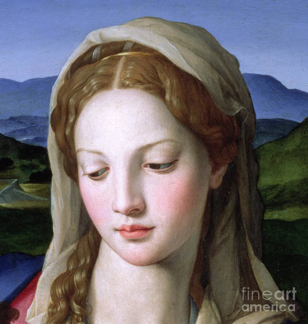 Holy Print featuring the painting Mary by Agnolo Bronzino