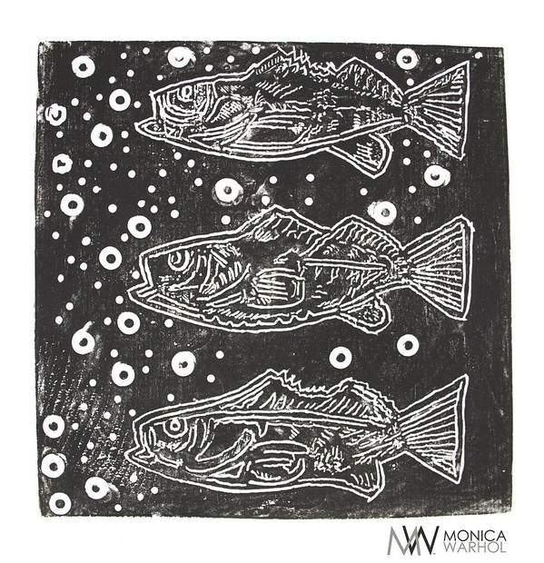 Monica Warhol Print featuring the painting 3 Fish by Monica Warhol