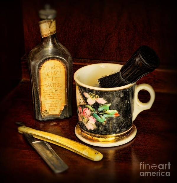 Barber - The Barber's Chair Print featuring the photograph Barber - Shaving Mug And Toilet Water by Paul Ward