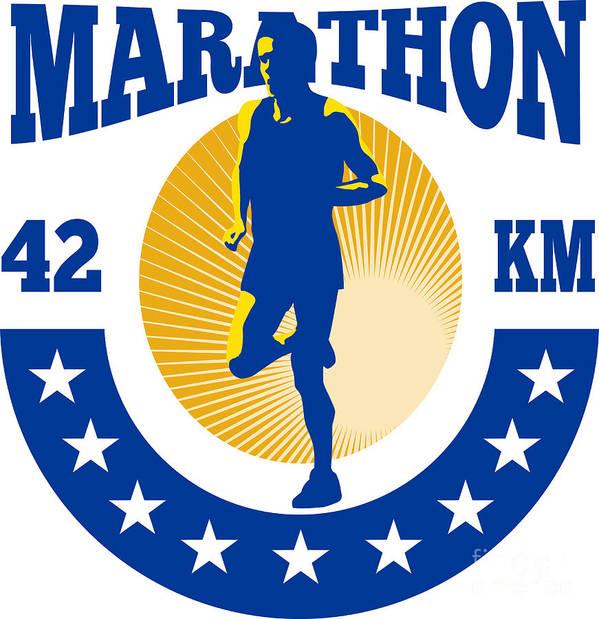Marathon Print featuring the digital art Marathon Runner Athlete Running by Aloysius Patrimonio