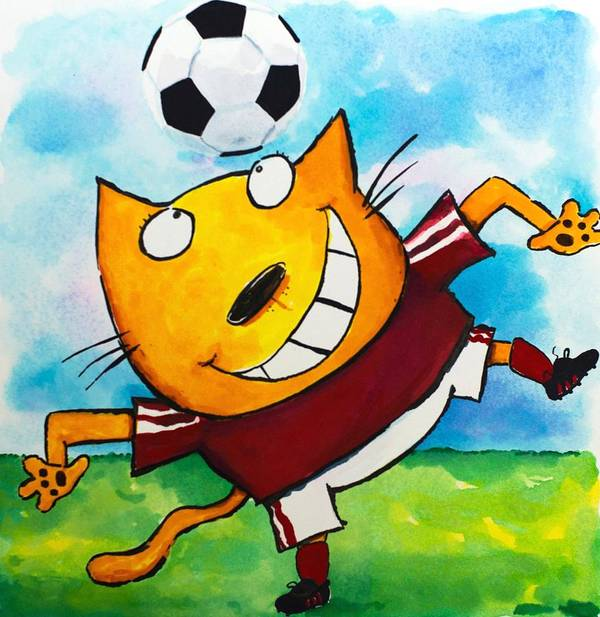 Cat Print featuring the painting Soccer Cat 4 by Scott Nelson
