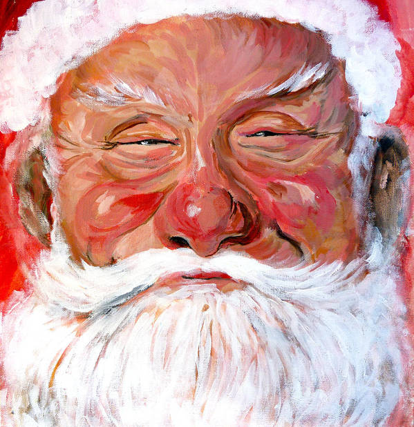 Santa Print featuring the painting Santa Claus by Tom Roderick