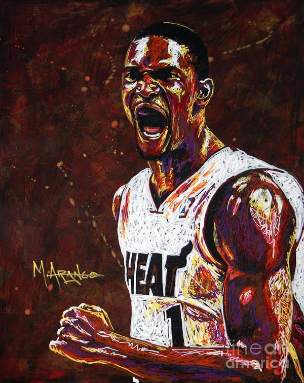 Chris Print featuring the painting Chris Bosh by Maria Arango