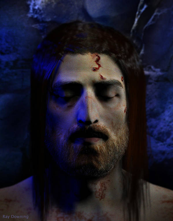 Jesus Print featuring the digital art Jesus In Death by Ray Downing