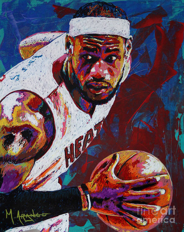 Lebron Print featuring the painting King James by Maria Arango