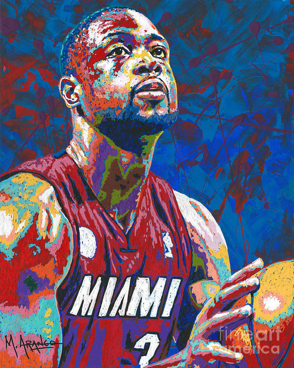 Dwyane Wade Print featuring the painting Miami Wade by Maria Arango