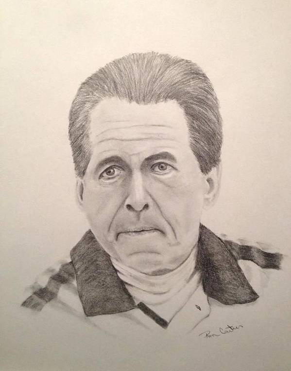 Crimson Tide Print featuring the drawing Nick Saban by Ron Cartier
