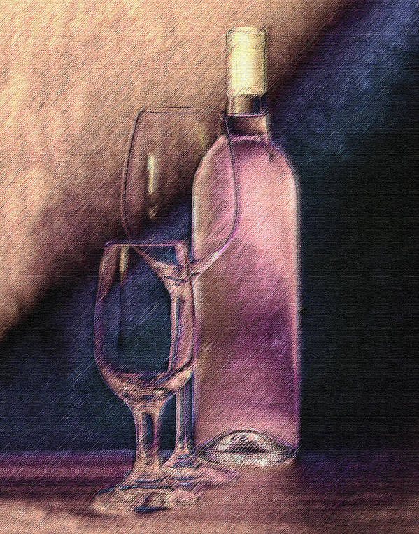 Wine Print featuring the photograph Wine Bottle With Glasses by Tom Mc Nemar