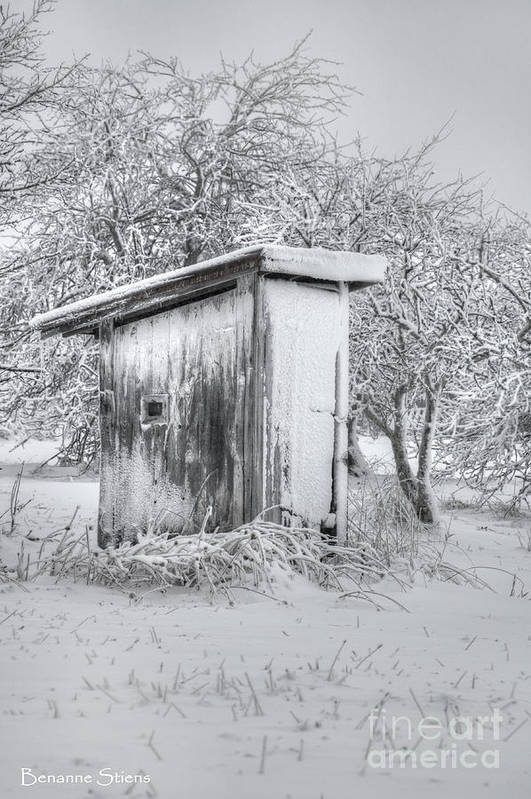 Outhouse Print featuring the photograph The Coldest Fifty Yard Dash by Benanne Stiens