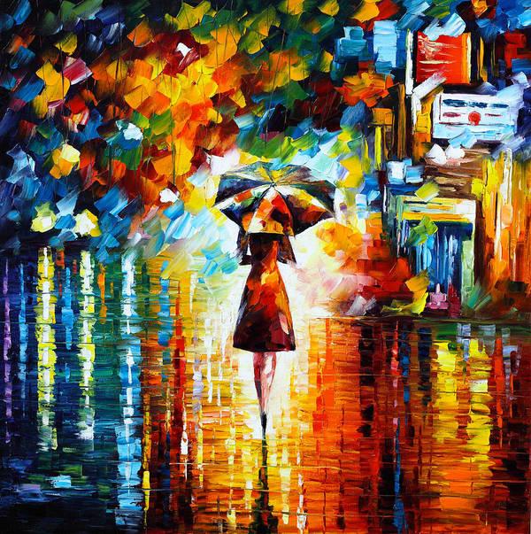 Rain Print featuring the painting Rain Princess by Leonid Afremov