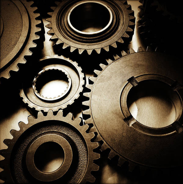 Gearing Print featuring the photograph Cogs by Les Cunliffe