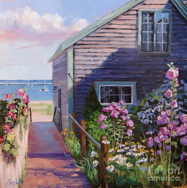 Seascape Print featuring the painting A Visit To P Town Two by Laura Lee Zanghetti