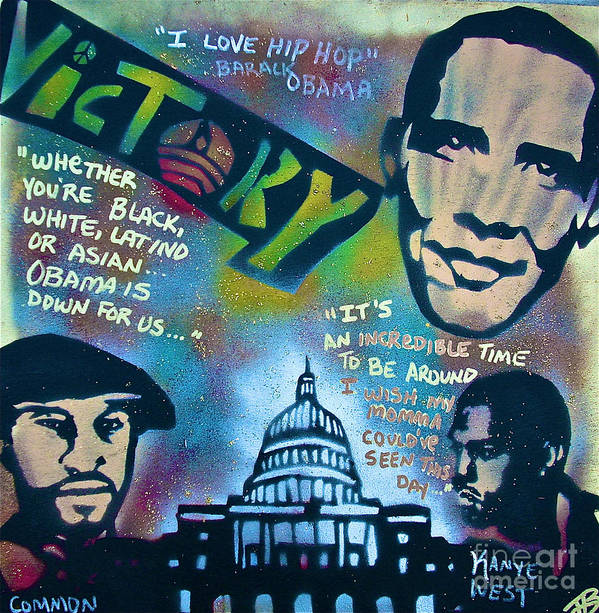 Barack Obama Print featuring the painting Barack And Common And Kanye by Tony B Conscious