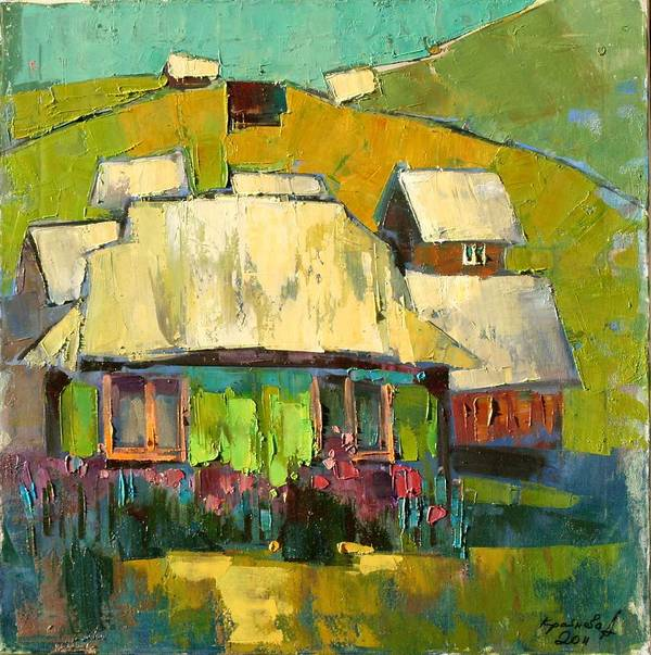 In The Yard Print featuring the painting Grass In The Yard by Anastasija Kraineva