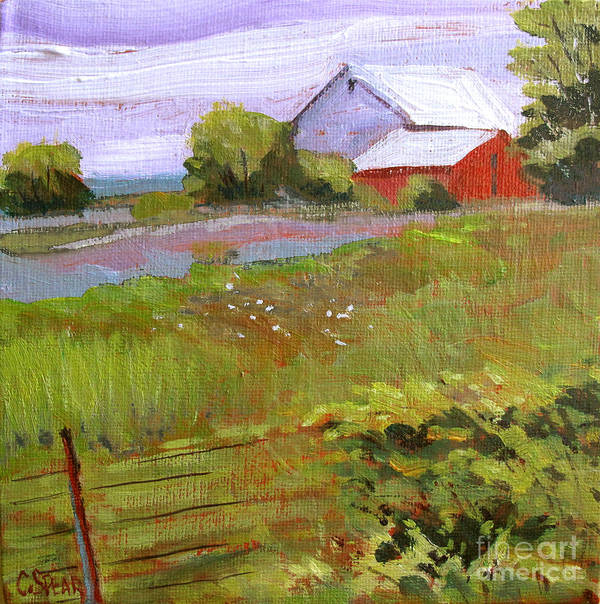 Landscape Print featuring the painting Hobbs Farm by Charlie Spear