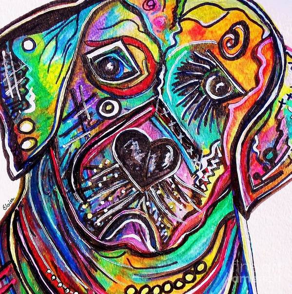 Lab Print featuring the painting Lovable Lab by Eloise Schneider