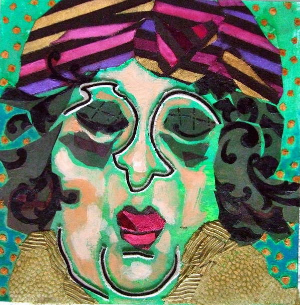 Mixed Media Collage Print featuring the mixed media Mrs.eisenberg by Diane Fine