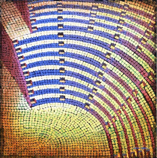 Roman Print featuring the painting Ochre Auditorium by Mark Howard Jones