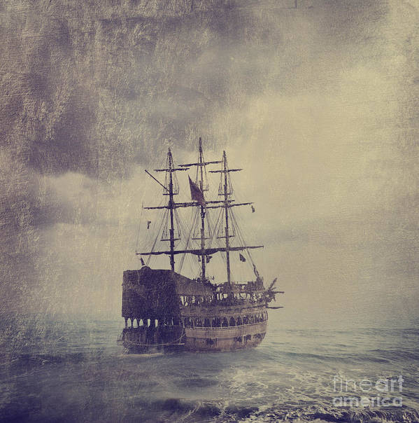 Ship Print featuring the digital art Old Pirate Ship by Jelena Jovanovic