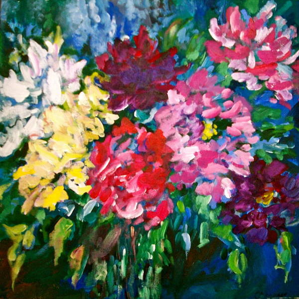 Peonies Print featuring the painting Peonies by Carol Mangano