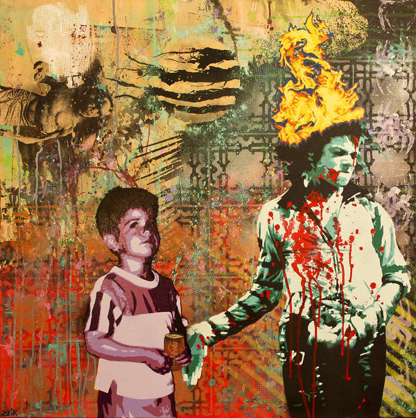 Michael Jackson Print featuring the painting Serial Thriller by Bobby Zeik