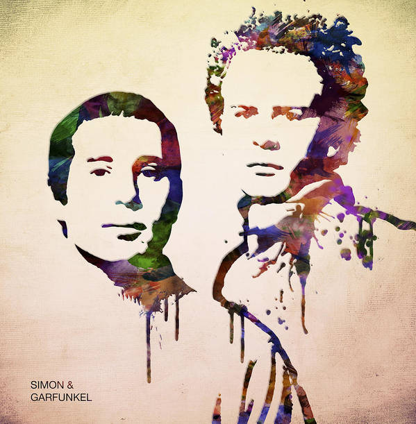 Simon And Garfunkel Print featuring the digital art Simon And Garfunkel by Aged Pixel