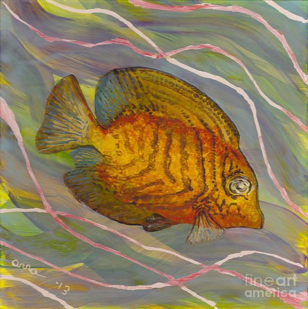 Surgeonfish Print featuring the painting Surgeonfish by Anna Skaradzinska