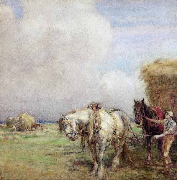 Hay Print featuring the painting The Hay Wagon by Nathaniel Hughes John Baird