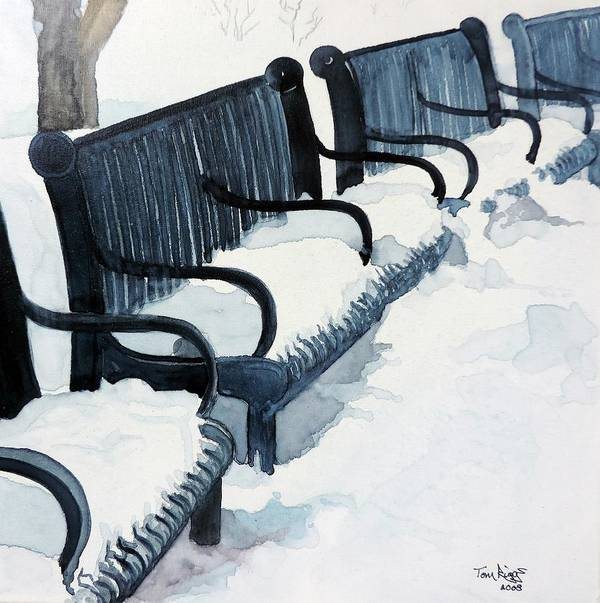 Watercolor Print featuring the painting Winter Benches by Tom Riggs
