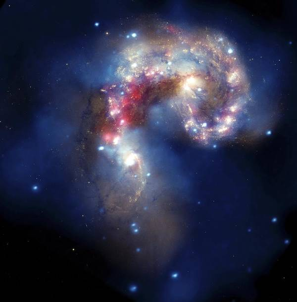 Antennae Galaxies Print featuring the photograph Antennae Galaxies, Composite Image by Nasa