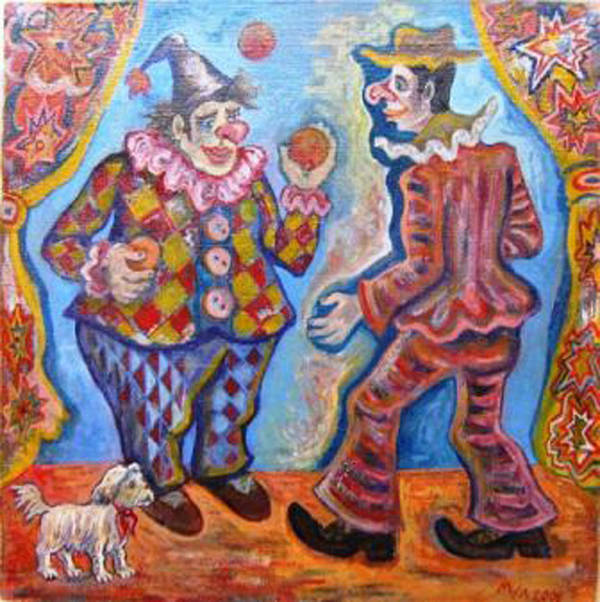 Clowns Print featuring the painting Clowns by Milen Litchkov