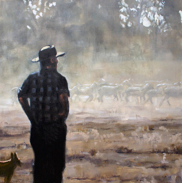 Farmer Print featuring the painting Farmer And Sheep by Gaye White
