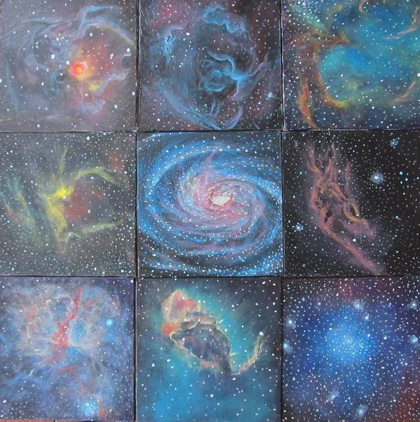 Space Print featuring the painting Nine Nebulae by Alizey Khan