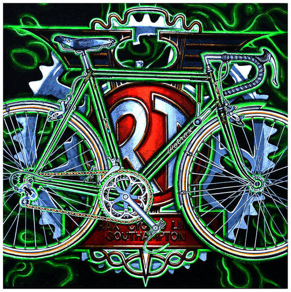 Bicycle Print featuring the painting Rotrax by Mark Howard Jones