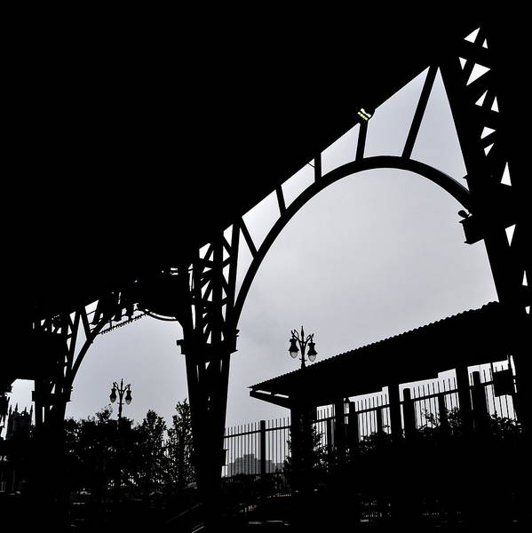 Detroit Print featuring the photograph Tiger Stadium Silhouette by Michelle Calkins