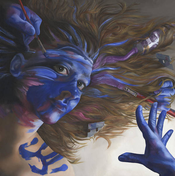 Surreal Print featuring the painting Being Art by Katherine Huck Fernie Howard