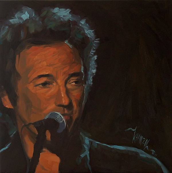 Bruce Springsteen Print featuring the painting It's Boss Time - Bruce Springsteen Portrait by Khairzul MG