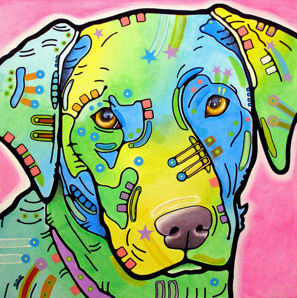 Dean Russo Print featuring the painting Labrador Vintage by Dean Russo