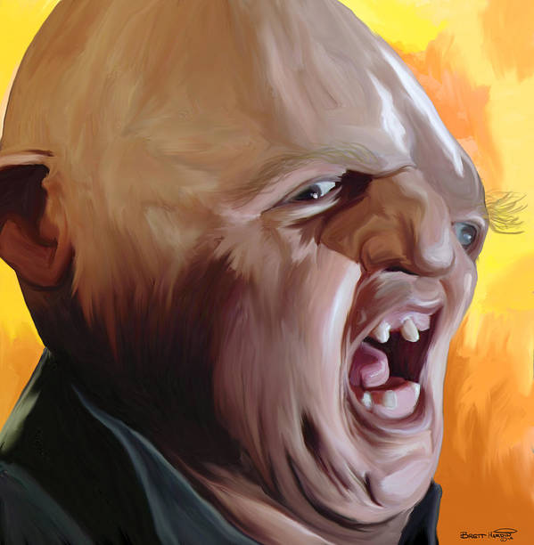 Sloth Goonies Chunk Baby Ruth Hey You Guys Deformed Goondocks Movie 80\'s Pop Art Painting Yelling Screaming  Print featuring the painting Sloth From Goonies by Brett Hardin